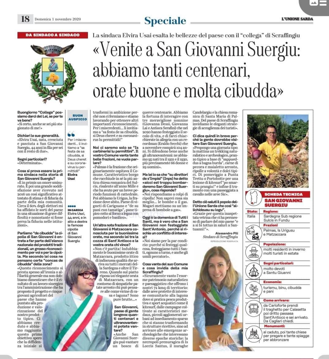 articolo sullo spettacolo del sindaco di Scraffingiu a San Giovanni suergiu